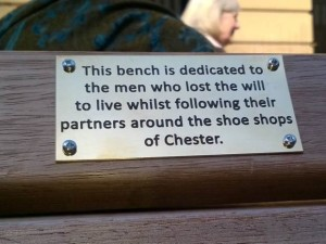 """Killjoy council officials have removed a series of comedy plaques put on a street benches - aimed at bringing a smile to shopper's faces. Pranksters made up the plaques to screw onto the shopping benches in the Banksy-style to liven up a city centre. But council officials removed the five plaques - after saying some people could be """"offended"""" by them. © WALES NEWS SERVICE"""